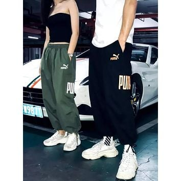 PUMA New Popular Retro Women Men Logo Embroidery Elastic Waistband Sport Pants Trousers Sweatpants I13063-1