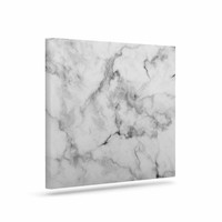 "Kess Original ""White Marble"" Gray White Canvas Art"