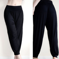 Womens summer pink blue white coral turquoise Harem Full Length Black Pants small - 3XL plus size