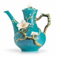 Van Gogh Almond flower design sculptured porcelain teapot
