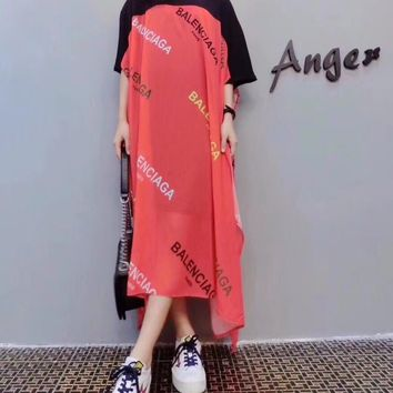 """Balenciaga"" Women Loose Fashion Stitching Multicolor Letter Print Short Sleeve Maxi Dress"