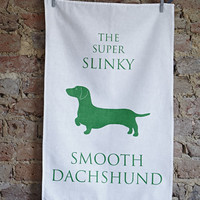 The Super Slinky Smooth Dachshund Tea Towel