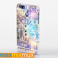 Olaf Frozen Quotes I Like Warm Hugs. iPhone 4/4S, 5/5S, 5C Series Full Wrap Case