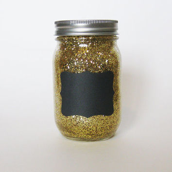 Gold Glittery Mason Jar with Chalkboard