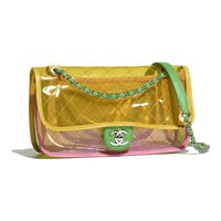 PVC, Lambskin & Silver-Tone Metal Pink & Yellow Flap Bag | CHANEL
