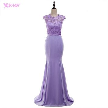 YQLNNE 2018 Lilac Lace Chiffon Bridesmaid Dresses Long Mermaid Wedding Party Dress Vestido De Festa