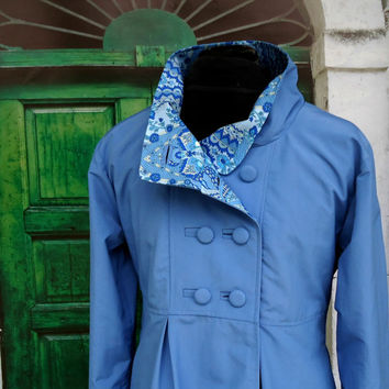 Swing Coat in Lightweight Water Resistant Supplex Optional Hood Fully Lined Jacket for Travel Rain or Shine