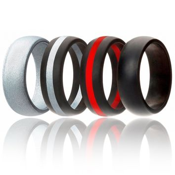 Silicone Wedding Ring Men Rubber Band Comfortable Sport Love Gift 4 Pack, 7 Size