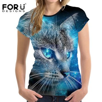 FORUDESIGNS 3D Galaxy Cat Prints Women Summer T Shirt Elastic Woman Tops Fashion T-shirt For Girls Female Tees Brand Clothes