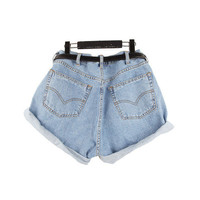 High Waisted Oversize Jeans Shorts Pants