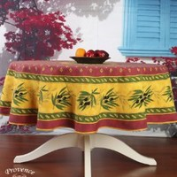 """Olives Red 71"""" Round French Provencal Polyester Tablecloth"""