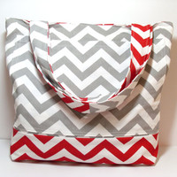 Beach Bag Tote - Red Gray - Chevron - Large Tote Bag - Summer Beach Bag - Made To Order - Canvas Beach Bag