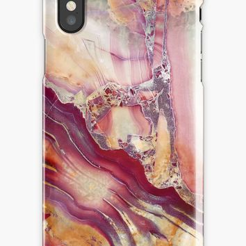 'Red and Gold Marble Gem Stone Pattern' iPhone Case by Quaintrelle