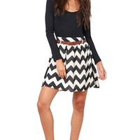 Chevron Skater Dress - Black & White from Double Zero at ShopRoxx.com