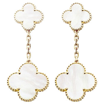 Van Cleef & Arpels Magic Alhambra Mother of Pearl Gold Drop Earrings