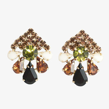 Art Deco Gem Clip Earrings