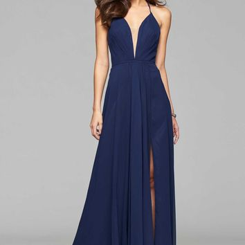 Faviana 7747 Navy Plunge Neck Chiffon Evening Gown