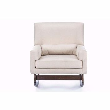 Imperium Grey Linen Contemporary Rocking Chair with Pillow By Baxton Studio