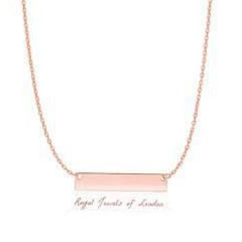14K Rose Gold Dainty Smooth Bar Necklace