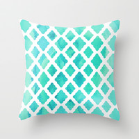 Watercolor Mint Diamonds Throw Pillow by micklyn