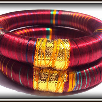 2 Maroon Multicolored  Silk Thread Wrap Bracelet Bangle India