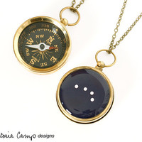 Aries Constellation Necklace with Working Compass, Pocket Compass, Long Brass Chain, Stars, Astronomy, The Ram, March April Birthday