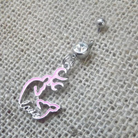 Pink buck and doe heart belly piercing, pink browning belly button, love heart deer, country body jewelry, girly navel ring, southern