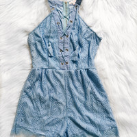 Annalise Lace Up Romper (Light Blue)