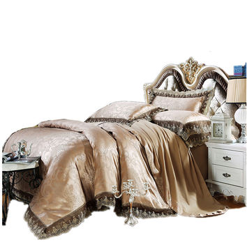 2016 Luxury Embroidery Tencel Satin Silk Jacquard Bedding Sets golden pink bedsheet Queen King size 4pcs/6pcs Christmas gift