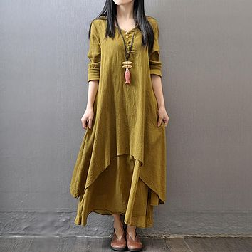 Linen Autumn Long Sleeve Cotton Linen Dress One Piece Dress [11359551175]