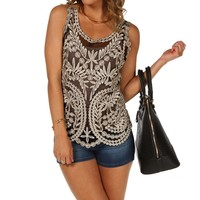 Sale-black Crochet Tank Top