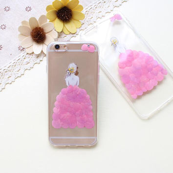 A Girl Case 100% Handmade Dried Flowers Cover for iPhone 7 7Plus & iPhone 6 6s Plus + Gift Box B61