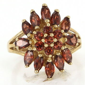 Vintage Garnet Cluster Cocktail Ring Yellow Gold Estate Fine Jewelry Sz 6.25