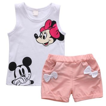 2pcs Princess Kids Baby Girls Minnie Mouse Set Children Summer Casual Fashion Clothes Vest Tops+Shorts Tracksuits Outfits