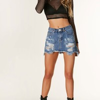Well Destroyed Denim Mini Skirt