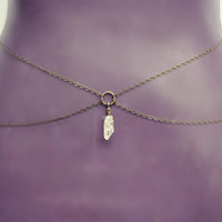 crystal belly chain, body chain, crystal body chain, quartz body chain, waist chain, crystal chain, quartz waist chain