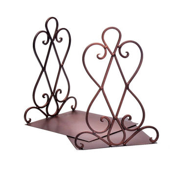 Cnomg 1 Pair Bronze Hollow Out Flower Nonskid Bookends Bookend Book Stands