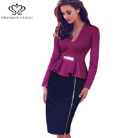 2016 Womens Elegant Patchwork V Neck Peplum Zipper Tunic Wear To Work Business Casual Party Pencil Sheath Wiggle Dress B002
