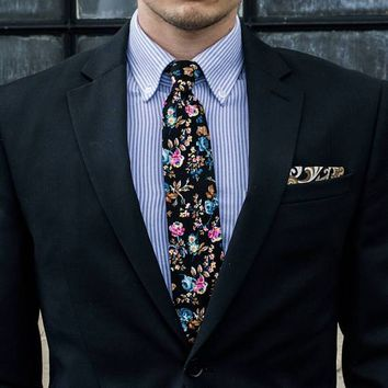 Black Floral Skinny Tie Boyfriend Gift Men's Gift Anniversary Gift for Men Husband Gift Wedding Gift For Him Groomsmen Gift for Friend Gift