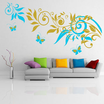 Vinyl Wall Decal Colorful Sprig Pattern with Leafs & Butterflies / Nature Art Decor Sticker / Forest DIY Mural  + Free Random Decal Gift!