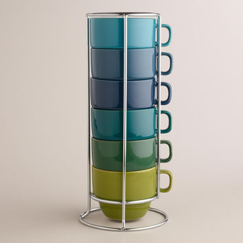 Cool Ombre Stacking Mugs, Set of 6 - World Market