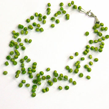 Olive Green Necklace.  Bridesmaid Necklace. Beadwork. Wedding Necklace.   Multistrand Necklace.