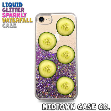 Cucumber Slices Pattern Healthy Vegetables Cute Liquid Glitter Waterfall Quicksand Sparkles Glitter Bomb Bling Case for iPhone 7 7 Plus 6s 6