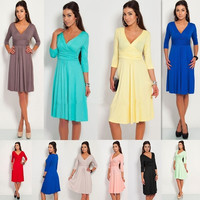 Women Sexy V Neck Stretchy OL Long Sleeve Tunic Dress Maternity Pleated Dress = 5739215425