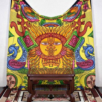 Psychedelic Celestial Sun Hippie Bohemian Large Wall Tapestry