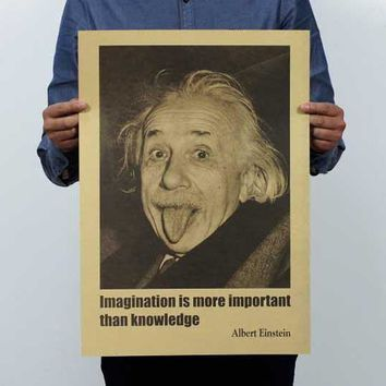wall sticker Einstein imagination is more important than knowledge retro posters,kraft paper wall stickers, vintage movie poster