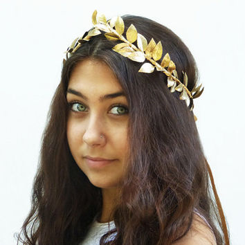 Gold Leaf Crown, Greek Goddess, Gold Leaf Tiara. Goddess Costume, Toga Costume, Greek Headband, Leaf Garland, Gold Leaf Crown, Circlet