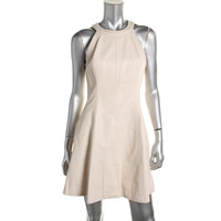 Rachel Roy Womens Faux Leather Sleeveless Cocktail Dress