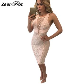 2017 Summer Womens Lace Dresses Elegant Wedding Party Sexy Night Club V-neck Sleeveless  Bodycon Lace Dress Short Vestidos