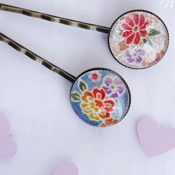 Japanese Hair Pin Flower japanese fabric Bobby Pin